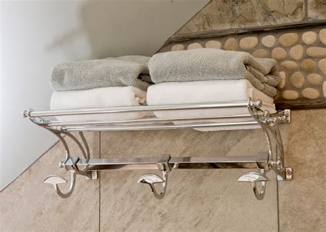 Bathroom Storage With Towel Bar by Towel Shelf With Hooks Bathroom Traditional With