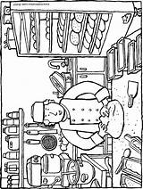 Baking Bread Baker Colouring Kiddicolour Drawing sketch template