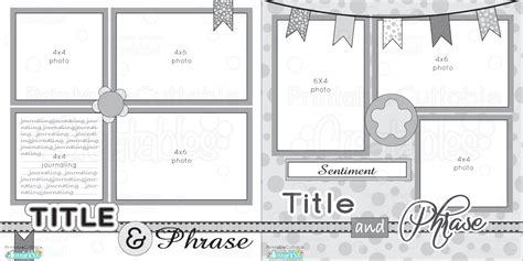 page  printable scrapbook layout