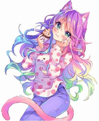 Neko Anime Kawaii Rainbow Animeart Transparent Catgirl