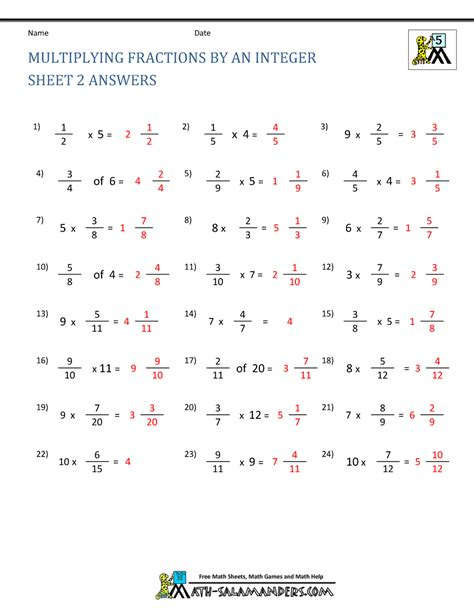 multiplication of fractions worksheets with answers kidz