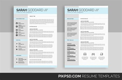 Stylish Resume Templates by Stylish Resume Template Set