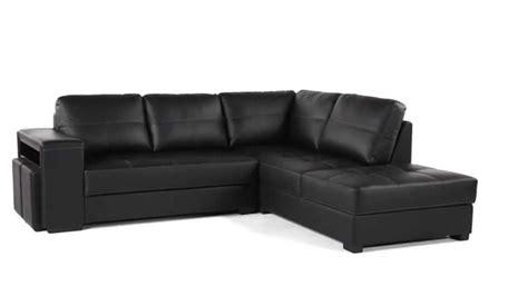 canapé design grand angle cuir et polyuréthane noir ayrton