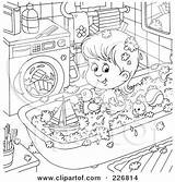 Coloring Toys Outline Tub Playing Machine Pages Clipart Claw Royalty Toy Washing Illustration Rf Bannykh Alex Template Laundry Loader Hygiene sketch template