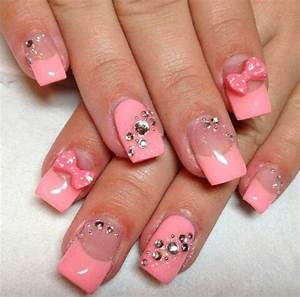 cute nails with diamonds   Bows and diamond nails super ...