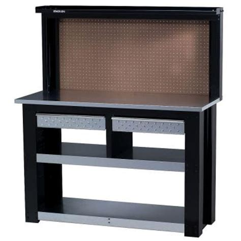 home depot tool bench 54 in professional steel workbench with back wall storage
