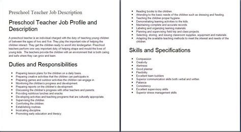 Education Job Descriptions Preshool Teacher Job Profile. List Of Skills For A Resume. How To Make Your Own Resume. Able Seaman Resume. Good Adjectives For A Resume. Free Resume Templates Downloads. Payroll Specialist Resume. How To A Resume. How To Lie On Resume