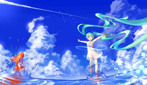 Anime Water Wallpaper - wallpaper illustration anime water sky clouds
