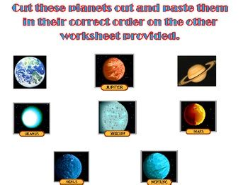 the solar system cut and paste worksheet by kelsey