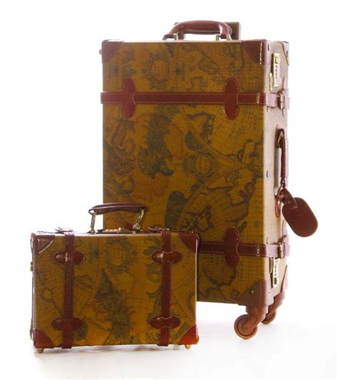 Vintage Retro Style Wheeled Trunk Luggage Two Part Set