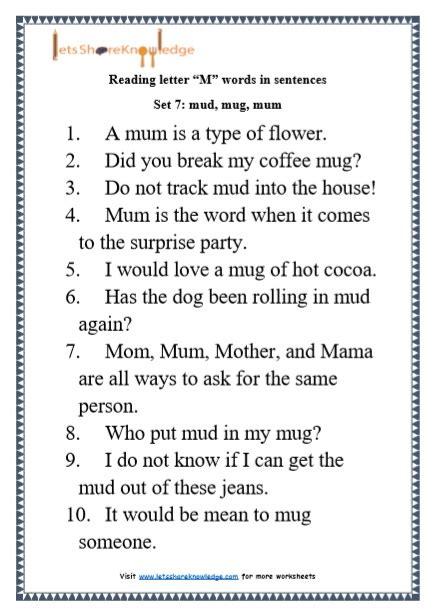 Letter Sentences by Kindergarten Reading Practice For Letter Quot M Quot Words In