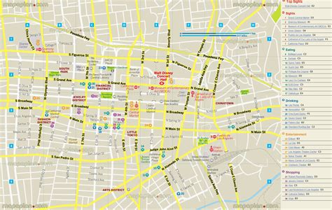 printable map  downtown los angeles  travel