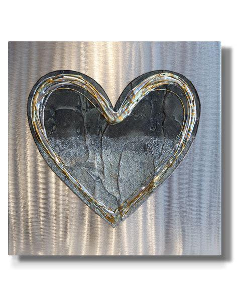 Wall art mexican handpainted tin ornament heart milagro #71 3/$26. Love Heart Brass Fusion - Silver Wall Art, Contemporary Art UK