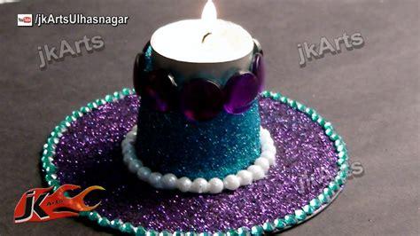diy glitter candle holder    waste dvd