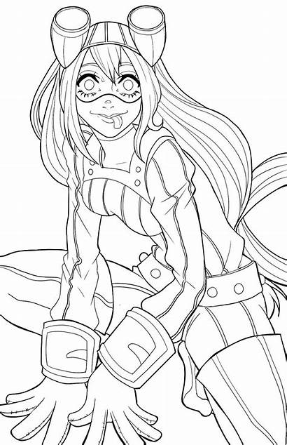 Academia Hero Coloring Asui Wonder Uraraka Face