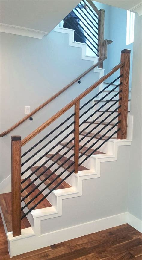 railing stair modern steel stairway stairs basement rust