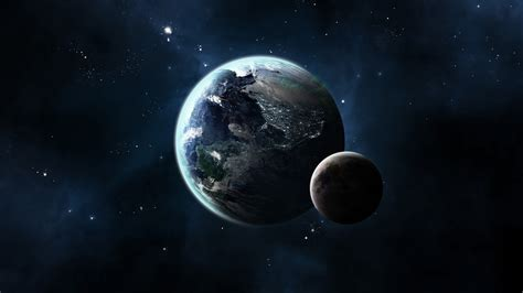 CG Render, Space, Planet, Moon, Stars, Earth Wallpapers HD ...