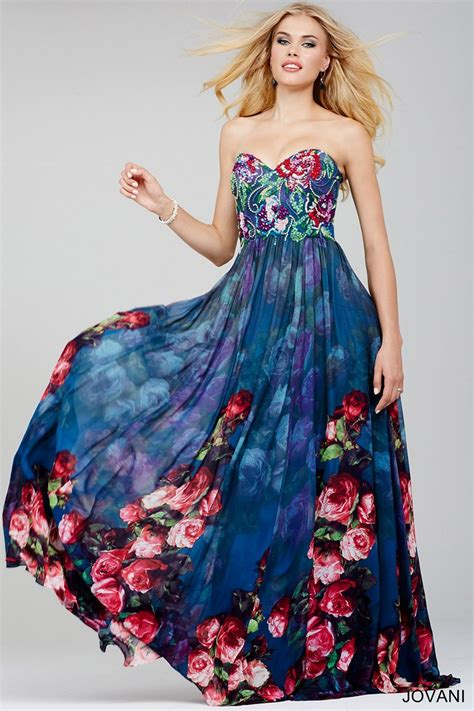 jovani  rose print prom dress madamebridalcom
