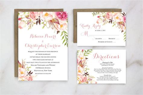 wedding invitation floral wedding invite garden