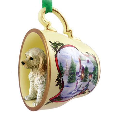 labradoodle ornament figurine christmas holiday teacup cream