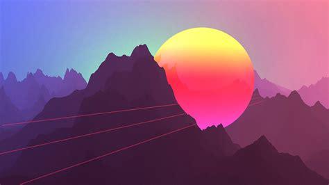 Retro Neon Wallpaper Pc by Wallpaper Neon Sunset Mountains Retro Style 3840x2160