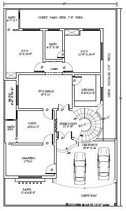civil engineering  marla  sft house plan