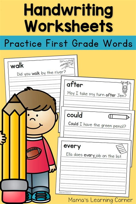 handwriting worksheets  kids dolch  grade words