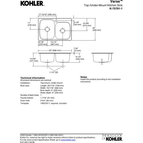 Kohler K 75791 1 NA Verse Stainless Steel Kitchen Sinks