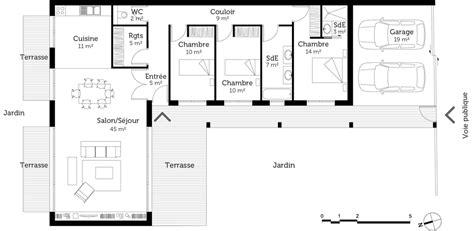 plans maison plain pied 4 chambres plan maison de plain pied de 120 m ooreka