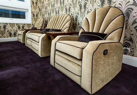 deco style theatre room recliners timeless interior
