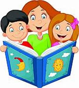 Clipart of vector mother reading a book to children ...