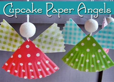 8 Cupcake Paper Angels Christmas Craft Cottage Style Kitchen Curtains Galley Island Small Contemporary Designs Yellow Accessories For Rustic Decor Lighting Rose Country Pictures Of Kitchens