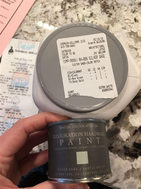 silver sage restoration hardware paint match to sherwin