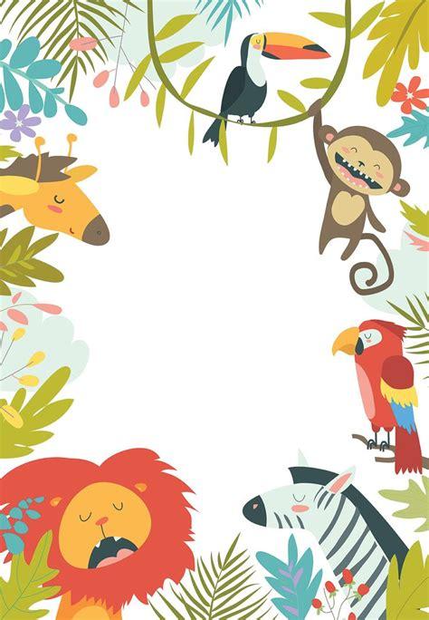 wild animals birthday invitation template