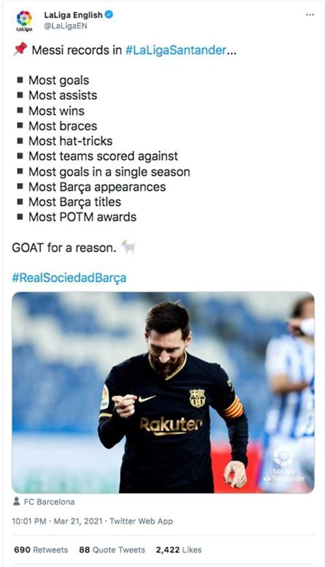 Lionel Messi crowned the GOAT by La Liga after Real ...