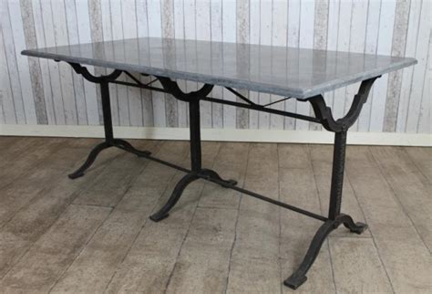 VINTAGE INDUSTRIAL STONE TOP CAST IRON BASE FRENCH STYLE