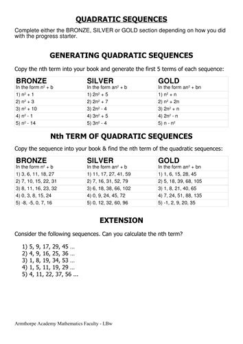 quadratic sequences nth term by cherrythunder teaching