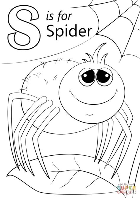 Letter S is for Spider coloring page from Letter S