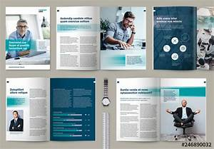 Business Brochure Or Magazine Layout With Teal Accents