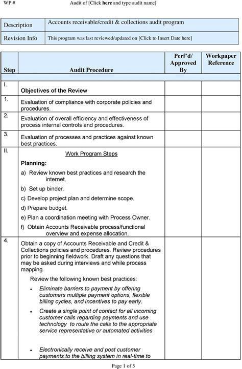 Accounts receivable/credit score collections audit program PDF