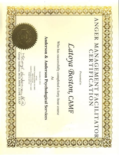 Anger Management Certificate Template by Anger Management Certificate Pdf