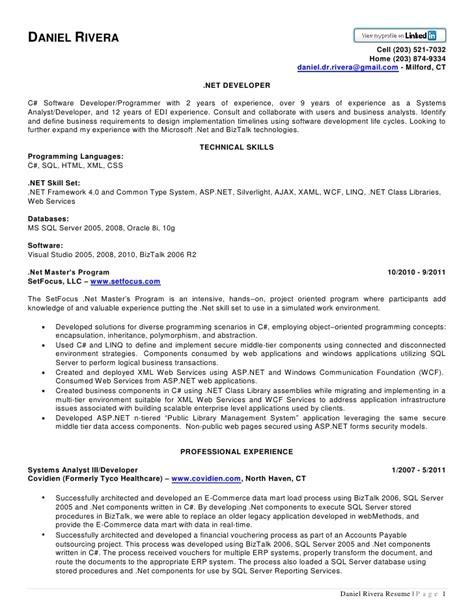 dot net experienced resume sles daniel rivera net resume
