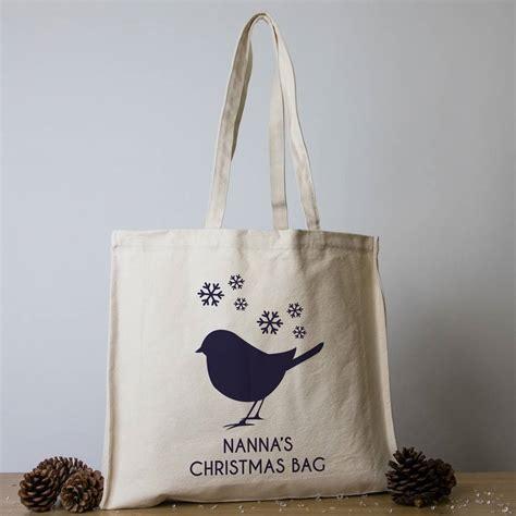 personalised christmas tote bags   labels notonthehighstreetcom