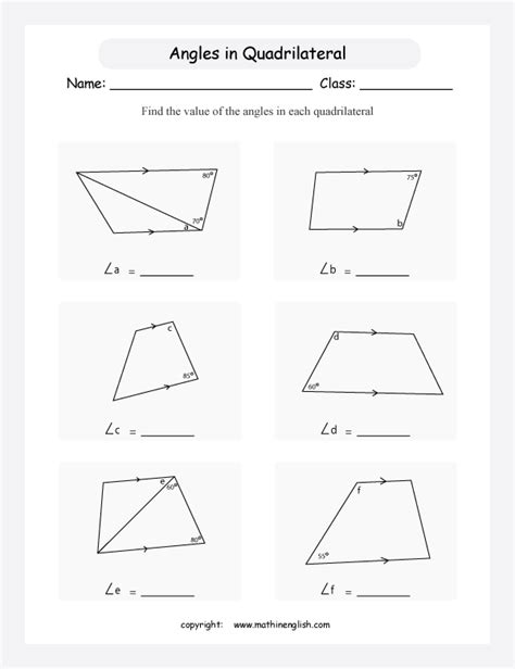 quadrilaterals geometry printable grade  math worksheet