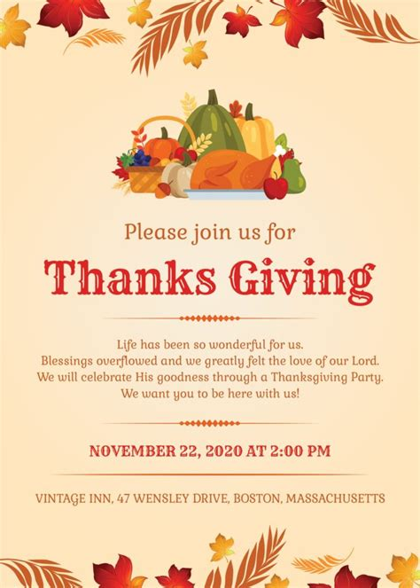 thanksgiving invitation cards fonts psd included
