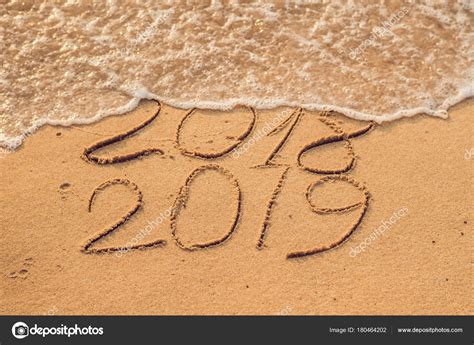 New Year 2019 Coming Concept Inscription 2018 2019 Beach