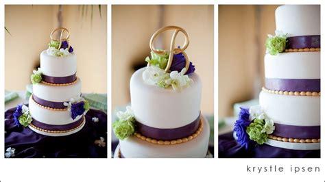 Gold Eggplant Purple Ivory Wedding Cake B