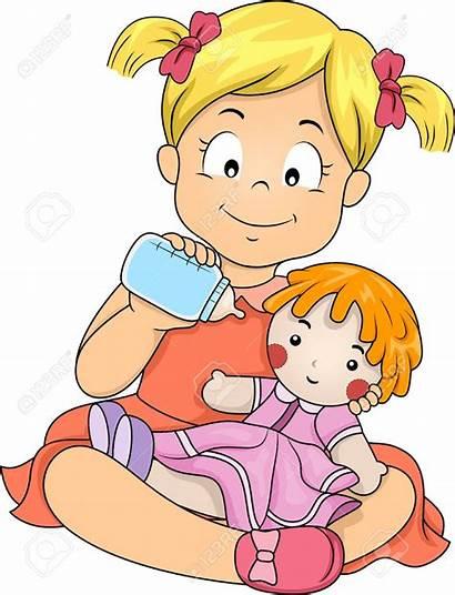 Doll Clipart Clip Play Playing Feeding Children