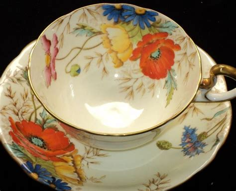 dinnerware tea orange poppy best 399 cups saucers aynsley images on other