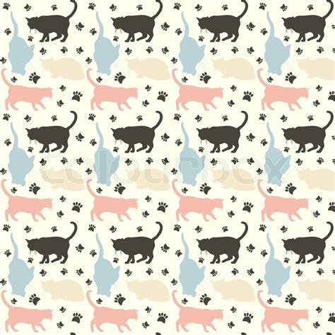 stylish colorful cats pattern background vector